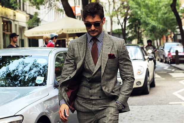 David Gandy Striped shirt for formal occasions