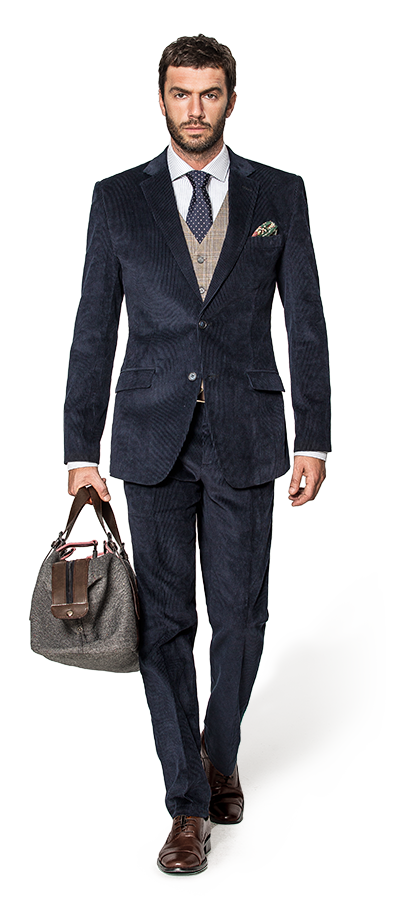 Blue 3-Piece corduroy Suit