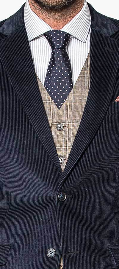 Blue 3-Piece corduroy Suit_Details