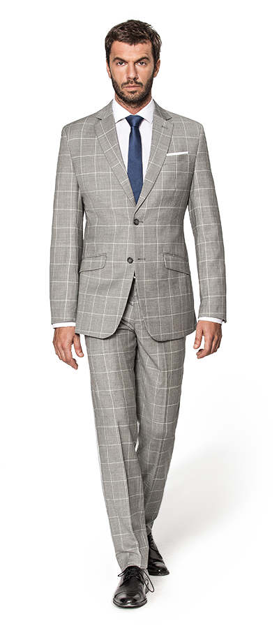 Grey Checked Wool Suit