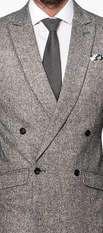 Grey Double Tweed Details
