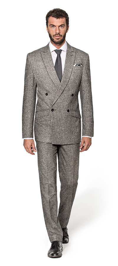 Grey Double Tweed Suit