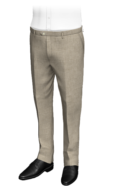 Beige slimt fit Houndstooth linen pants