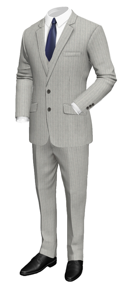 Grey 3piece striped linen suit