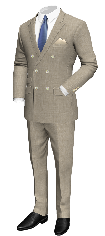 beige double breasted Houndstooth linen suit