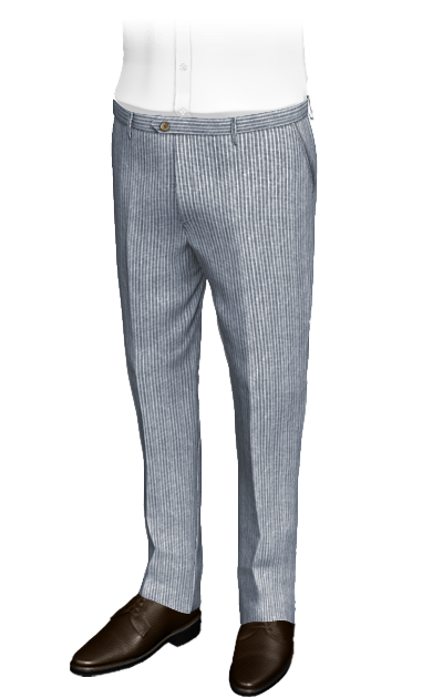 blue slim fit striped linen pants
