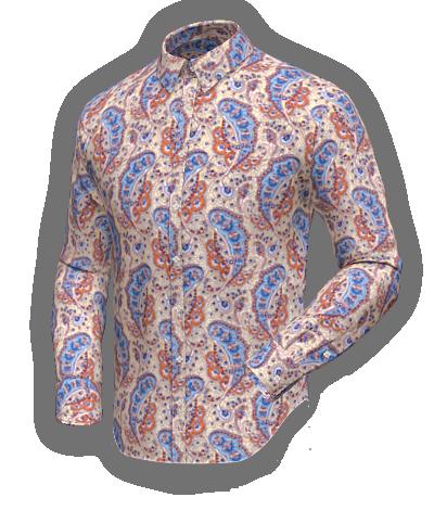 Beige paisley cotton shirt