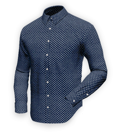 Blue dotted cotton shirt