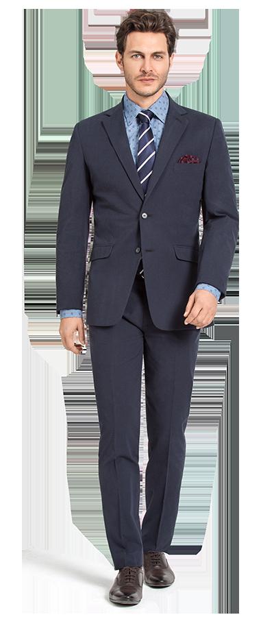 blue checked cotton suit