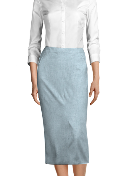 Blue 100% Linen Skirt
