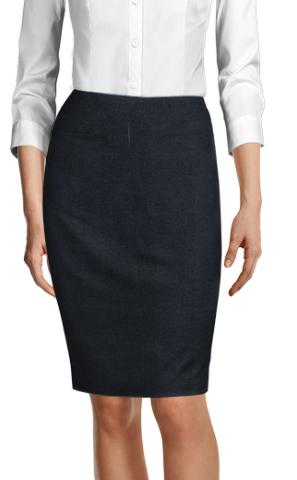 Blue moleskin pencil skirt