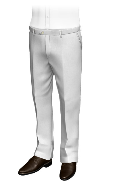 White straight fit linen Pants