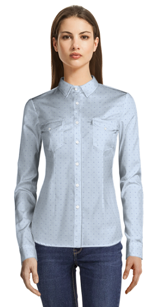 BLUE DOTTED 100% COTTON SHIRT