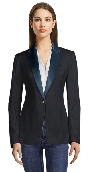 Blue Single Breasted jacket with Blue Shiny Lapels