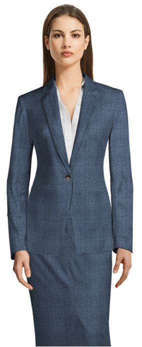 Blue Skirt Suit with cutaway jacket and long skirt