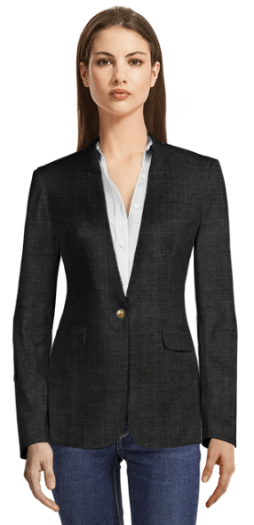 Black Linen Blazer without Lapels
