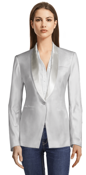 White blazer with white shiny lapels
