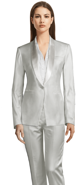 white suit white shiny lapels