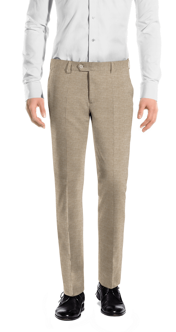 Beige slim fit Houndstooth linen Trousers