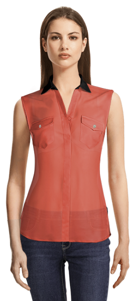 Coral sleeveless blouse with black details and 2 pockets