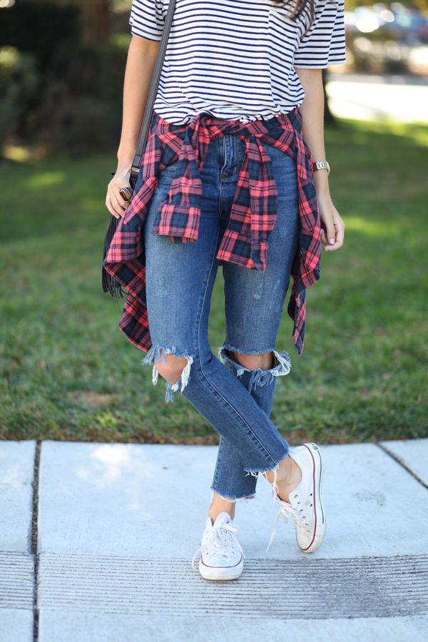 Flannel Shirt_Tied around waist