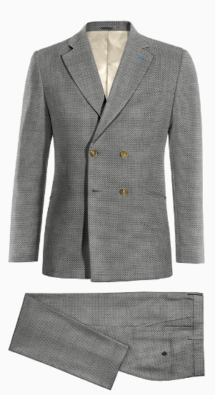 Grey Double breasted dotted wool Suit