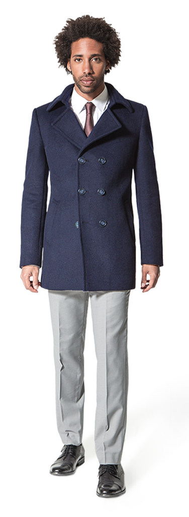 men blue pea coat