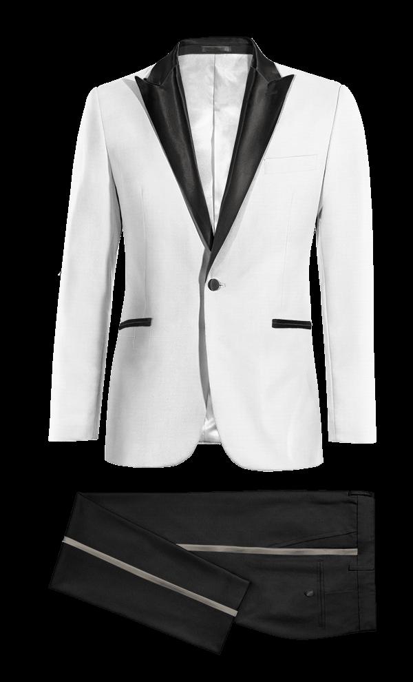 White & black peak lapel Tuxedo01