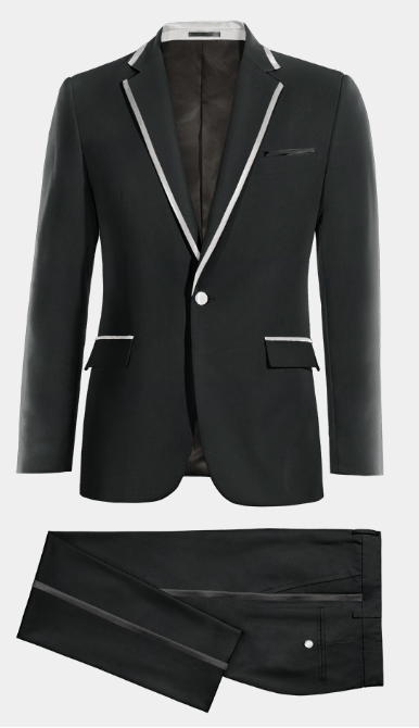 black tuxedo with white details