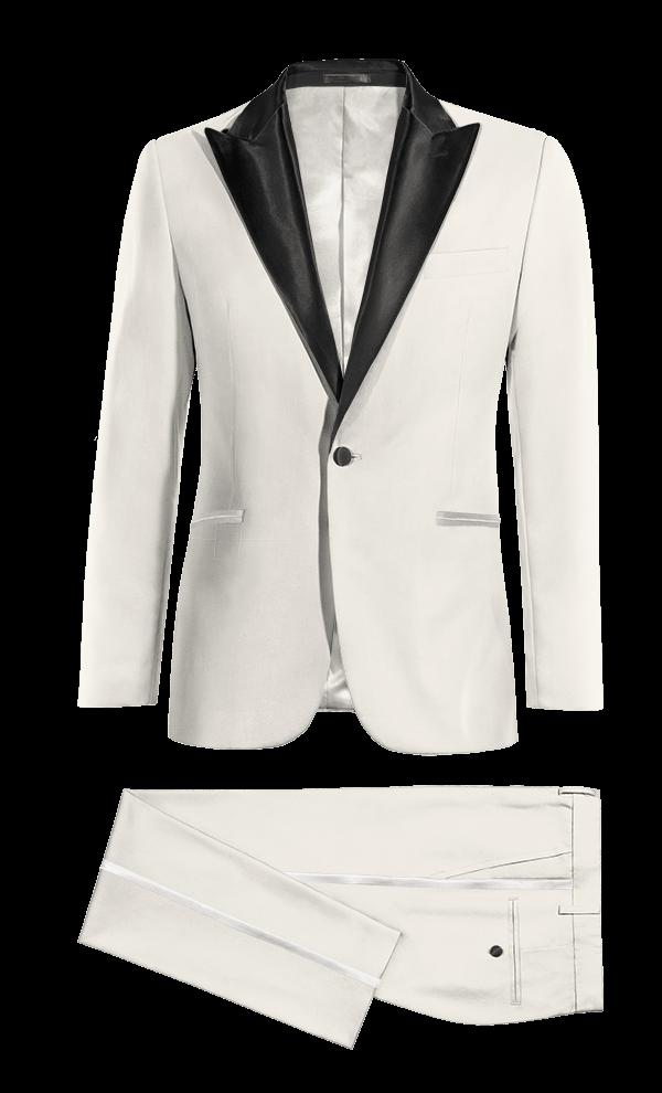 white & black peak lapel tuxedo