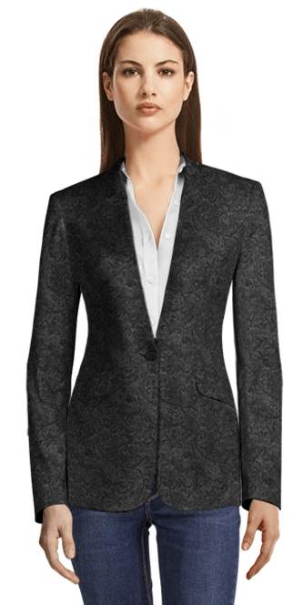 Black 100% Wool Blazer without lapels