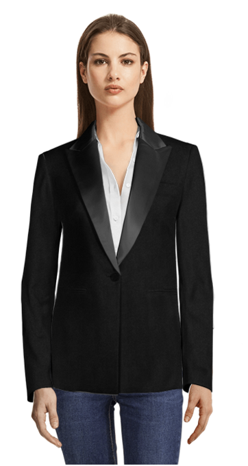 Black Blazer with Black Shiny Lapels