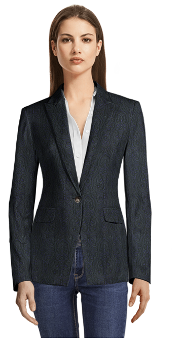 Blue Blazer with unique patterns with flap pockets and metal button
