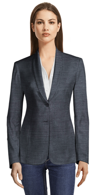 Blue Wool and Silk blend blazer