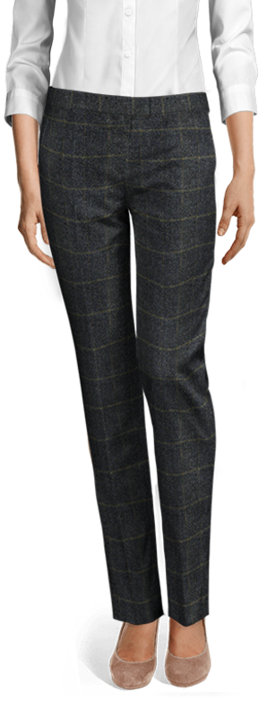 Blue checked tweed pants
