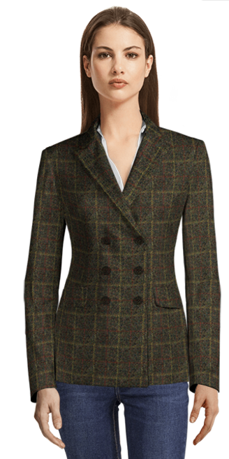 Green checked double breasted tweed blazer