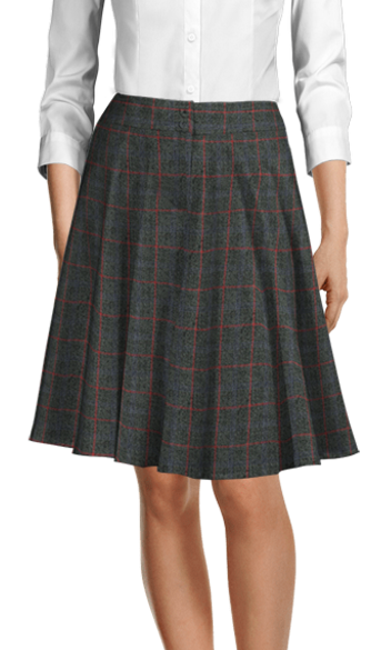 Grey checked tweed skirt