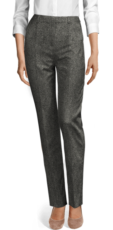 black tweed pants with high wais