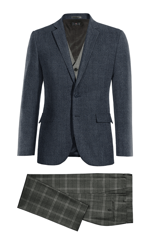 blue 3 piece wool suit