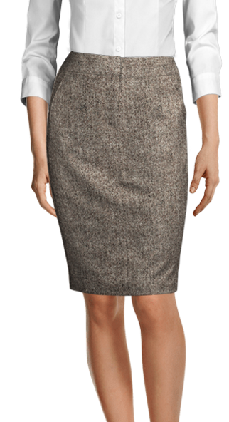 brown tweed skirt with diagonal front pockets