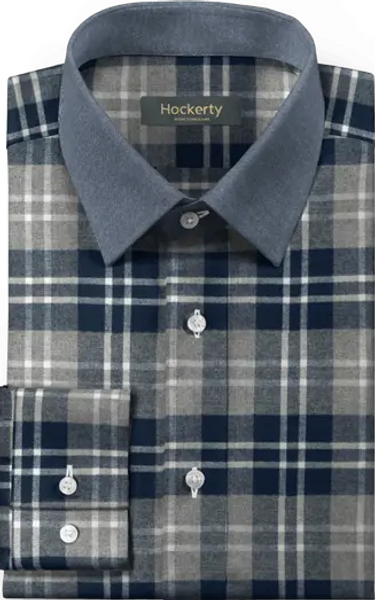 blue header flannel shirt