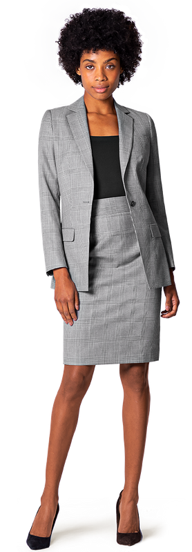 Grey Checkered Business Skirt Suit