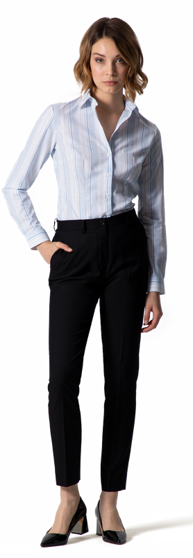 White/Blue Stripes Women Business Shirt
