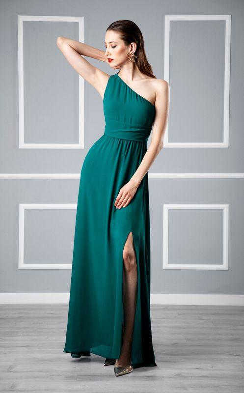 asymmetrical empire waist dress