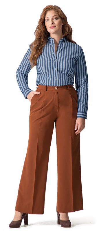 Blue Striped Women Shirt