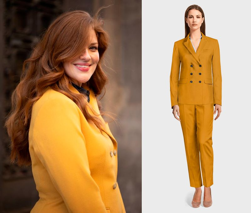 yellow double breasted woman suit
