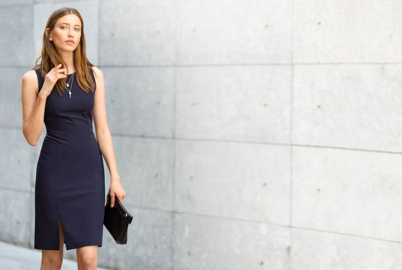 spring work dress blue