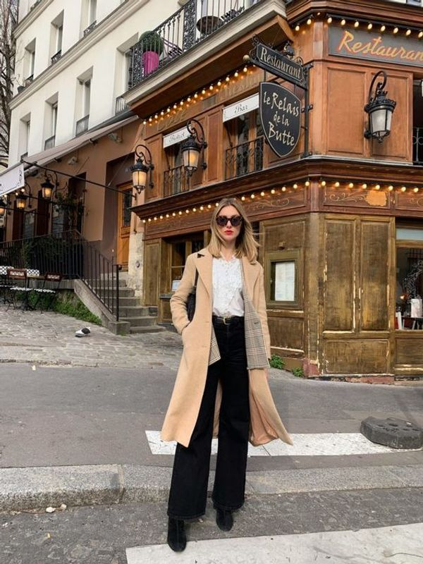 camel coat french style parisian