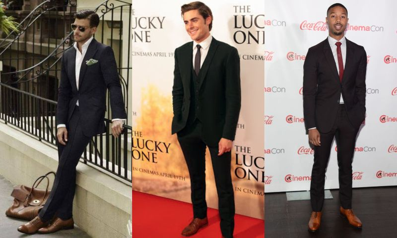 How to wear black suit with brown shoes