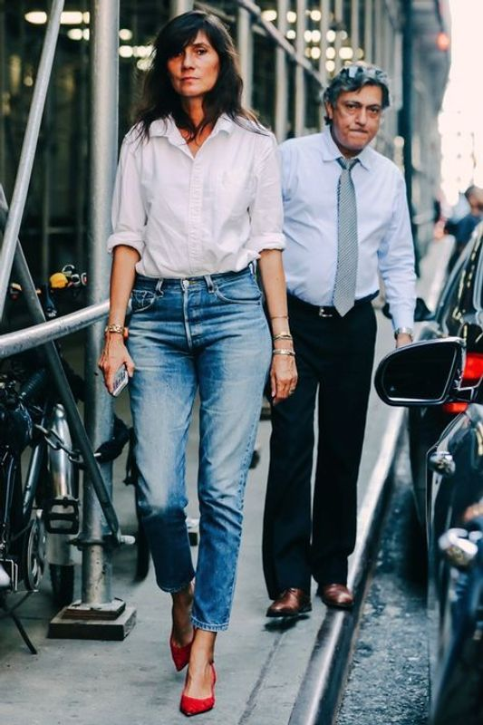 parisian french look style white shirt